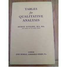 Tables for Qualitative Analsis - Arthur Sutcliffe 1948