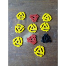10 different 45 adaptors - 7 yellow Recoton - 2 red 1 black