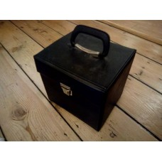 "Black Retro Record Case Holds 50 7"" VINYL 45s"