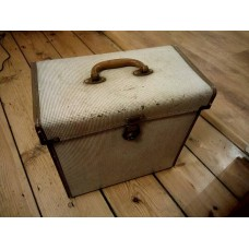 """Brown Grey Canvas Leather Retro Record Case ( Holds 50 - 12"""" VINYL)  LP"""