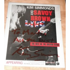 Kim Simmonds and Savoy Brown Signed Poster in Frame
