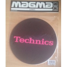 Technics Slipmat Simple T3:Pink on Black (Pair)